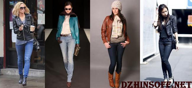 джинсы с кожаной курткой