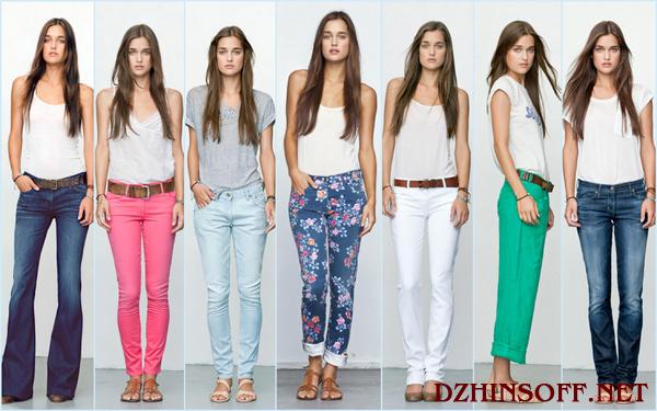 Различные фасоны джинсов